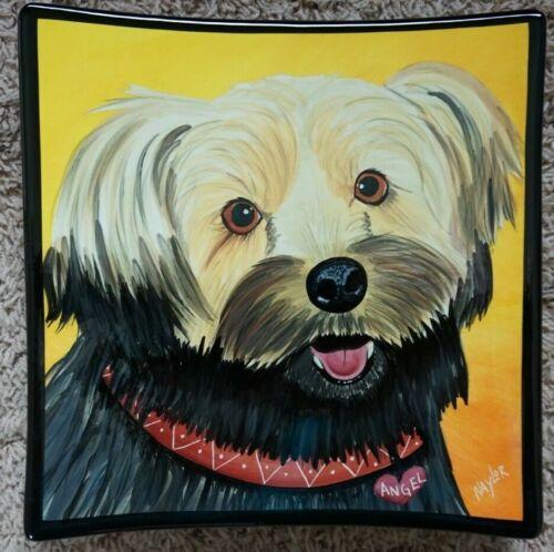 "Mary Naylor signed original art plate, ""Angel"" dog portrait terrier 11x11x2"