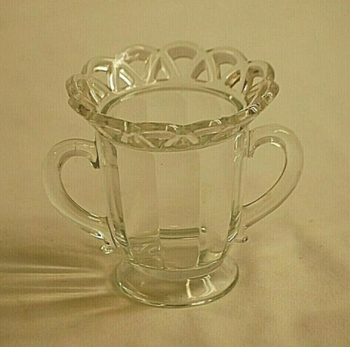 Lace Edge Clear by Imperial Glass Ohio Open Footed Sugar Bowl Paneled Sides