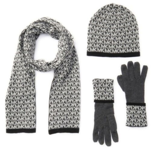 NEW MICHAEL KORS Womens 3-PC Scarf Hat Gloves Gift Box Set Derby Gray 537418 $98
