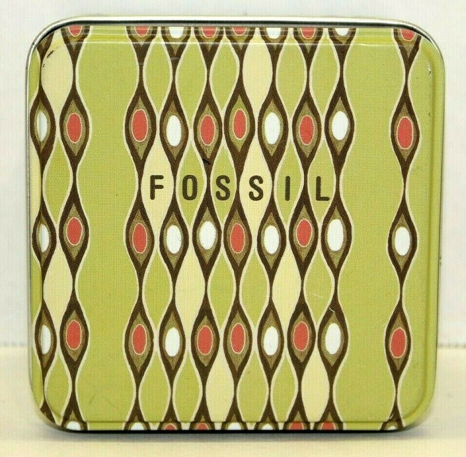 2003 Fossil Watch Tin Empty Decorative Box Green Wavy Design 3.5 Truly Inspired - $10.00