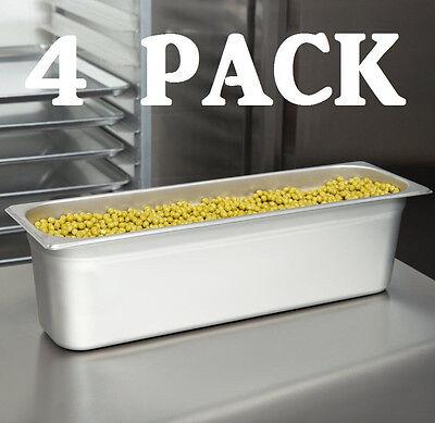 4 Pack 12 Size Long Anti-jam Stainless Steel Steam Prep Table Pan 6 Deep Half