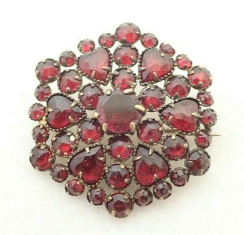 "Antique Victorian Faux Bohemian Garnet Heart 1 1/4"" Brooch Pin"