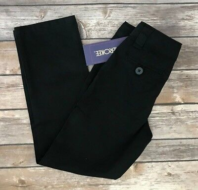 Back to School Girls Black Cherokee Adjustable Waist Twill Pants Size 5, 6, 7