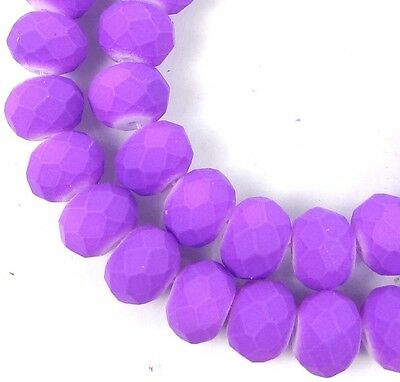8x5mm Matte Frosted Neon Glass Faceted rondelle Beads - Lavender 16""