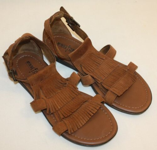 Minnetonka Ladies Womens Brown Leather Suede Fringe Sandals Shoes Size 6