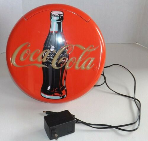 """Vtg Coca-Cola 12"""" Round Red Button Sign Telephone Phone Coke Stand Up or Wall"""