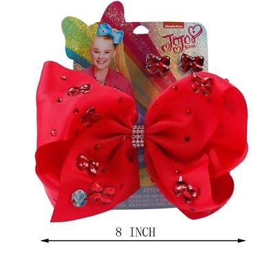 JoJo Siwa Beautiful Rhinestone 8 inch Bow with Stud Earrings Gift, Birthday,Girl
