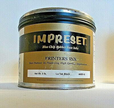 5 Lb Can Impreset Offset Printing Ink- Lo-tak Black-rubber Base-sealed