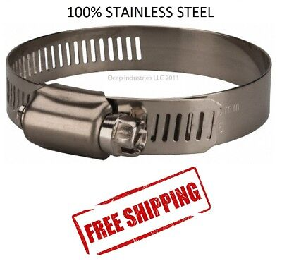 12 All Stainless Steel Worm Gear Hose Clamp 1-116 To 1-14 10 Pc Marine