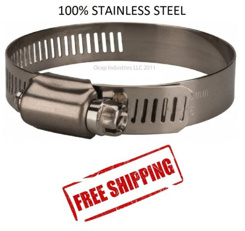 "#64 HOSE CLAMP ALL STAINLESS STEEL (3-9/16"" TO 4-1/2"") (10 Pieces) MARINE GRADE"