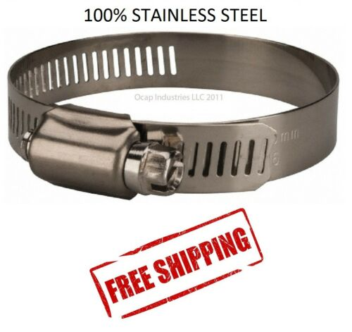 """#56 All Stainless Steel Worm Gear Hose Clamp (3-1/16"""" TO 4"""") 10 PC Marine Grade"""