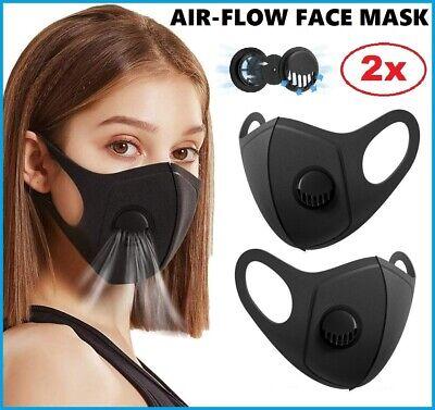 2x Air Flow Face Mask Surgical Disposable Reusable Washable Black Face Masks UK