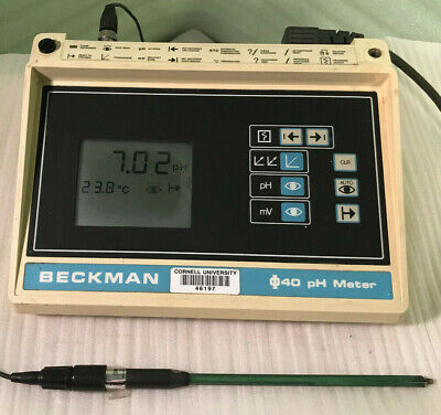 Vintage Beckman Phi40 Ph Meter Wcombination Electrodetemperature Probe Works