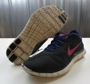 sale retailer 608f4 dd42a NICE Nike Free 4,0 V2 Black Purple Pink Women s Running Training Shoes size  9.5