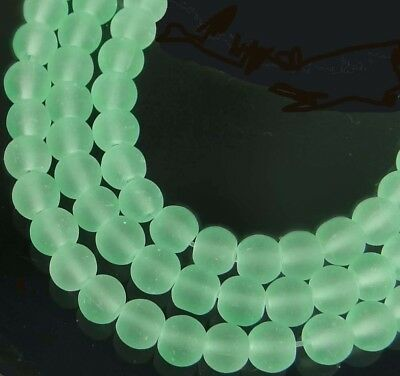 100 Czech Frosted Sea Glass Round / Rocaille Beads Matte - Sea Foam Green 4mm