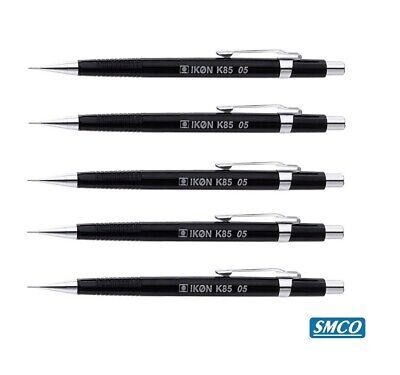 5 Mechanical Propelling Pencils 0.5mm Black Barrel Ikon K85 Like Pentel By Smco