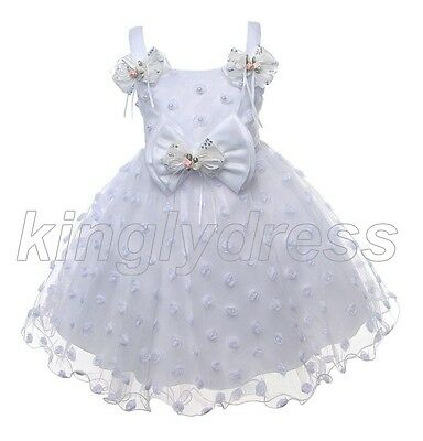 NEW Kid Flower Girl Pageant Wedding Princess Party Formal Dress White SZ 5 Z581D