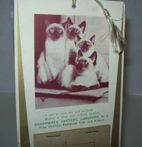 Longport New Jersey Boardwalk Cattery 1934 Holiday Calendar Siamese Cats Kittens