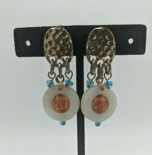 Vintage Gold Tone Dangling Clip On Earrings Mother of Pearl Hoop Plastic Bead