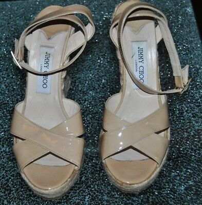 """Jimmy Choo Ankle Strap Espadrille Wedge Nude 5"""" Heel Shoes, Size 39"""