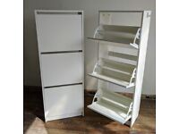 2 tall shoe cabinets