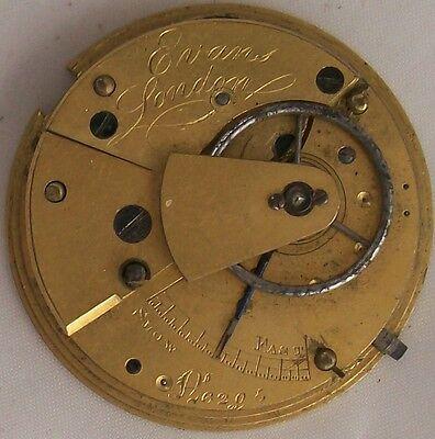 Evans old Pocket Watch movement key wind 36 mm. in diameter balance broken