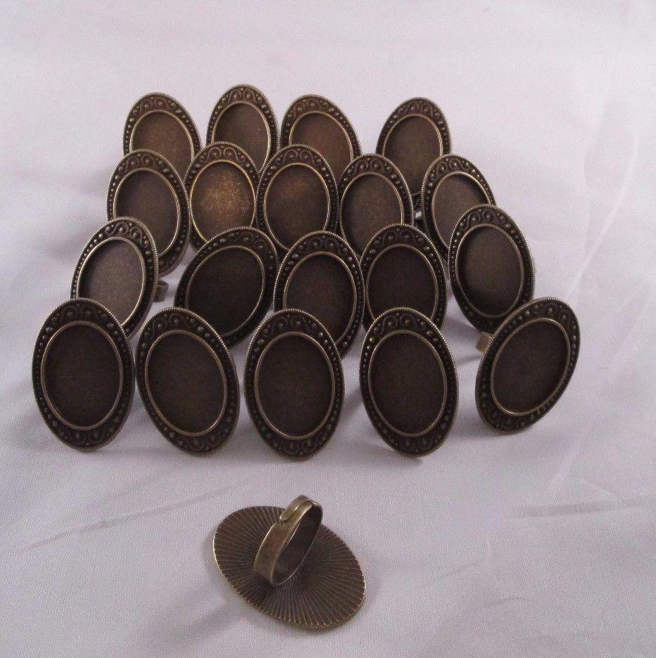 20 pcs 18 x 25 antique brass adjustable ring blanks beveled pad cabochon bezel