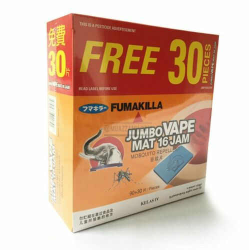 NEW Mosquito Repellent 16 Hours Jumbo Mat Refill Fumakilla -Thermacell 120pcs