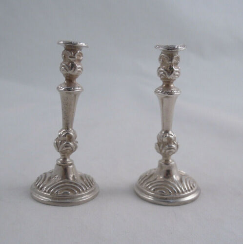 PAIR OF STERLING SILVER DOLLHOUSE MINIATURE CANDLESTICKS