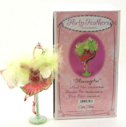 """ FLAMINGOTINI "" Flirty Feathers Pink Flamingo Martini Ornament Tag & Box New"