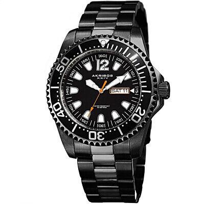 Akribos XXIV AK947 Diver Style IP Black Stainless 44mm w/Day & Date Men's Watch