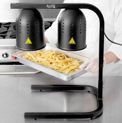 Black Aluminum Heat Lamp Food Fry Full Pan Warmer 2 Bulb Stand Commercial