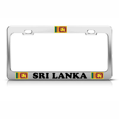 Sri Lanka Flag Flags Heavy Duty Steel Chrome License Plate Frame Tag Border