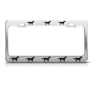 HORSES CHROME HEAVY DUTY STEEL LICENSE PLATE FRAME TAG HOLDER STYLE 2