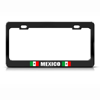 Mexico Country Flag Black Heavy Duty Steel License Plate Frame Tag Border