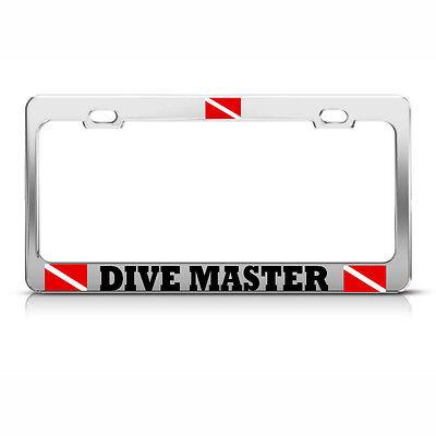 DIVE MASTER License Plate Frame Heavy Metal LOVE SCUBA DIVING Tag Border (Diving License Plate Frame)