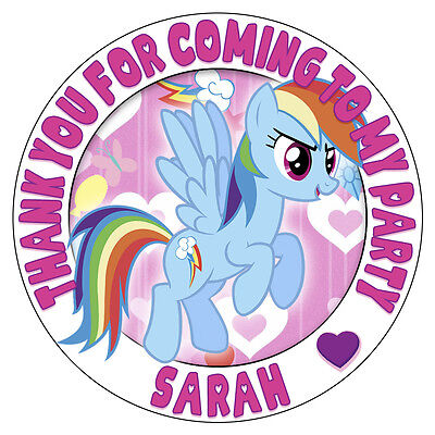 Personalised My Little Pony Stickers Rainbow Dash Birthday Party Bag Sweet Cones