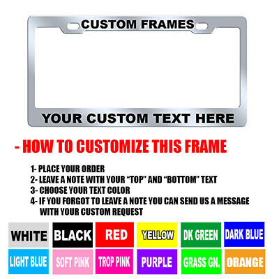 Custom PERSONALIZED Chrome METAL 9 OZ. High Quality License Plate Frame Tag - Personalized License Plate Frame