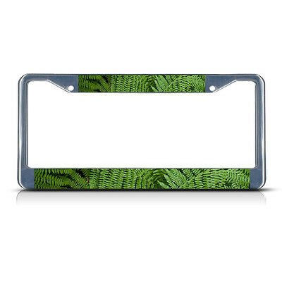 FERN LEAVES FLOWER Metal License Plate Frame Tag Border Two -