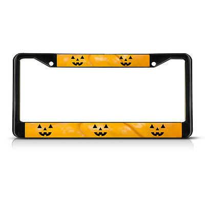 HALLOWEEN PUMPKIN FACES Metal License Plate Frame Tag Border Two Holes - Face Hole Halloween