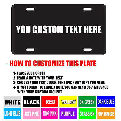 BLACK PERSONALIZED CUSTOM ALUMINUM LICENSE PLATE Car Tag (Your Name & - Cars Plates