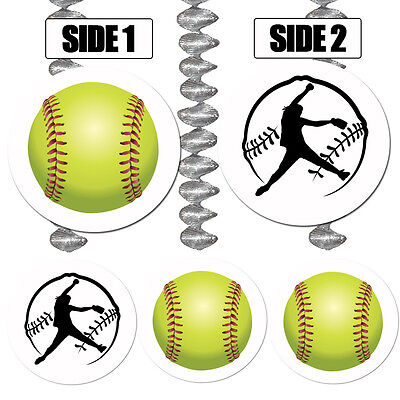 Fastpitch Softball Sports Fan Party Supplies HANGING DANGLER DECORATIONS
