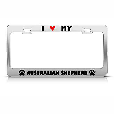 License Plate Frame Australian Shepherd Paw Love Heart Dog Car Accessories