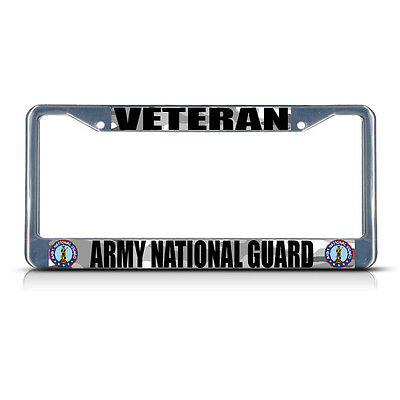 VETERAN ARMY NATIONAL GUARD Metal License Plate Frame Tag Border Two Holes ()