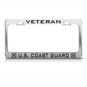 VETERAN UNITED STATES COAST GUARD CHROME License Plate Frame Tag Border