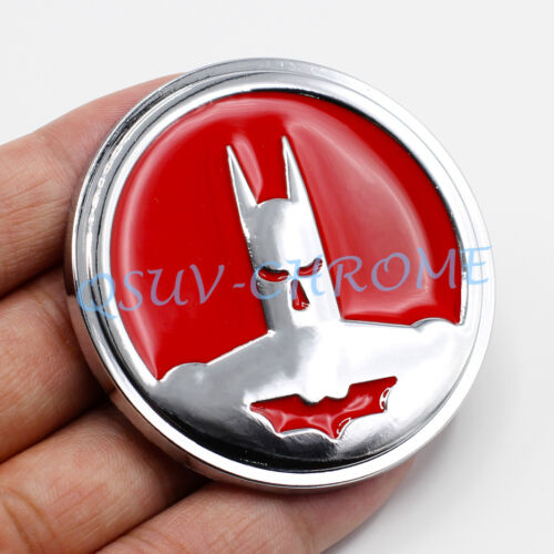 Chrome Roundel Red Coated Metal Mirror BatMan Emblem Badge Car Accessoy Sticker