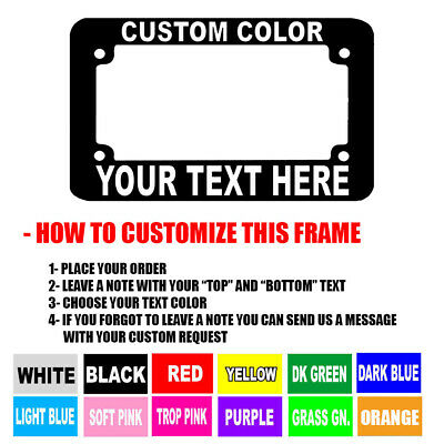 CUSTOM FONT MOTORCYCLE CUSTOM PERSONALIZED License Plate Frame COLOR - Personalized License Plate Frame