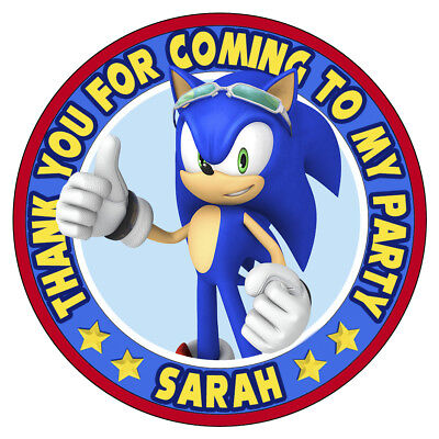 personalisiert Party SONIC THE HEDGEHOG Aufkleber Geburtstag Süßigkeiten Kegel (Sonic Hedgehog Geburtstag)
