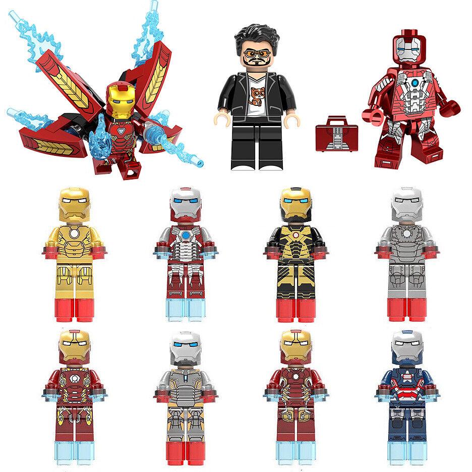 8 Pcs Iron Man Mini Figures NEW UK Seller Fits Major Brand Blocks Bricks Stark