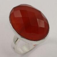 925 Sterling Silver Elegant Ring Size Uk N Natural Carnelian Checker Gemstone - sunrise jewellers - ebay.co.uk